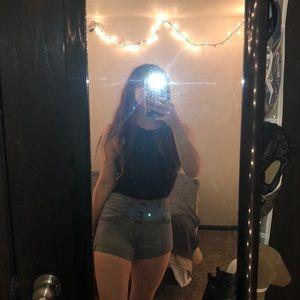BlackHeart White and Black Striped Shorts